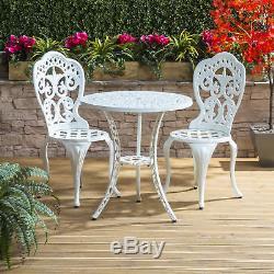 Vintage Bistro Set Cast Aluminium White Outdoor Coffee Balcony Table Chair Patio