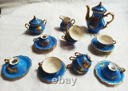 Vintage Blue & Gold Gilded Bavaria Waldershof Full Tea/coffee Set for 12