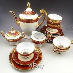 Vintage Bohemia 24 K Gold Hand Decorated Czechoslovakla Coffee Set for Six