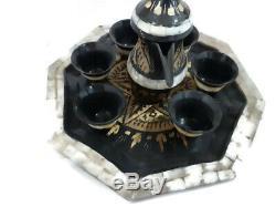 Vintage Brass Elegant Handmade Coffee Set (Coffee Pot, Cups, Cups Holder) Free