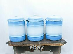 Vintage CANISTER SET Enamelware Coffee Sugar Tea Blue White Dutch Enamel Jars