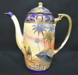 Vintage Camel On Desert Scene Noritake Hand Painted Coffee Set