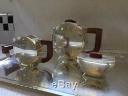 Vintage Christofle Art Deco Coffee Set With Tray Silver Plate And Wood Handles