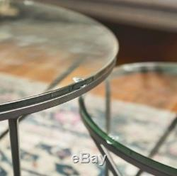 Vintage Coffee Table Glass Metal Frame Side End Tables Lamp Stand Set Furniture