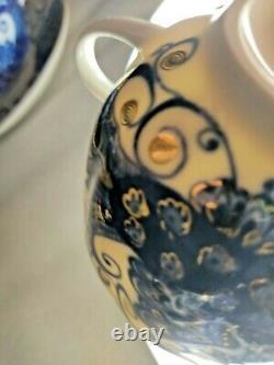 Vintage Coffee Tea Set Lomonosov 6 pers Cup & Saucer Cobalt & Gold $38 / Pair