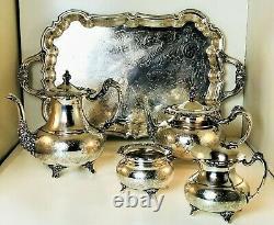 Vintage Community Ascot 5 Piece Victorian Silver Plate Tea/Coffee Set
