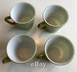 Vintage Corning Pyrex Avocado with Turquoise Flowers Coffee Mug Set of 4