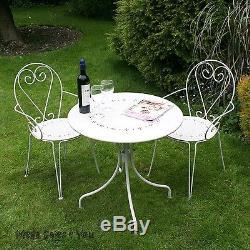 Vintage Cream Garden Bistro Set Steel Round Coffee Table 2 Armchairs Balcony NEW