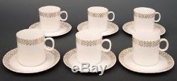 Vintage Czechoslovakia Gilt Porcelain Coffee Set, Nefertiti, Designer Jezek1964