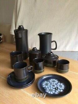 Vintage Denby Bolchova Eclipse Black 98 Set Bowls Saucers Plates Cups Coffee Tea