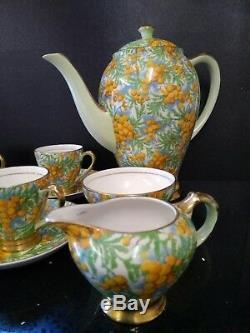 Vintage English Empire Golden Wattle Chintz 1952 Coffee Set