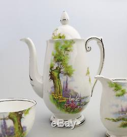 Vintage English Porcelain Roslyn China Peacehaven Swan Lake Coffee Set C. 1930's