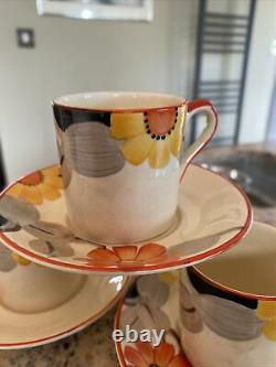 Vintage FLORAL Susie Cooper Grays Hand Painted Coffee Cup Saucer 8166 x 3 Sets