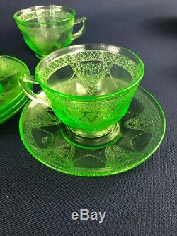 Vintage Federal Glass Co. Uranium depression glass coffee set LOVEBIRDS c. 1931