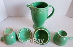 Vintage Fiesta Ware green Coffee pot stick handle creamer sugar bowl set lot 3pc