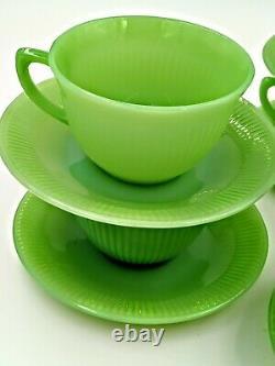 Vintage Fire King Jane Ray Jadeite Jadite 7 Sets Of Cups And Saucers Coffee Tea