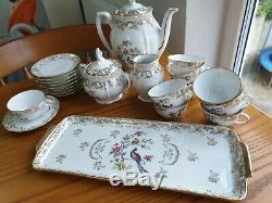 Vintage France Veritable Porcelane Coffee Set Pot Milk jug Sugar bowl Cups Plate