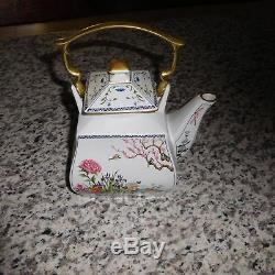 Vintage Franklin Mint Fine Porcelain Tea And Coffee Set With Sugar And Creamer