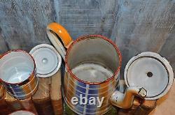 Vintage French Enamelware Blue Gold Plaid Canisters Set 6 Enamel Plus Coffee Pot