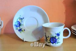 Vintage German Porcelain Mitterteich Bavaria Tea Coffee Service Set Floral Blue