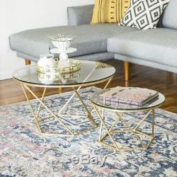 Vintage Glass Coffee Table Set Furniture Living Room Metal Side Table 2 Pieces