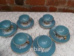 Vintage Hand made Italy, Florentine Turquoise ground tea/coffee set