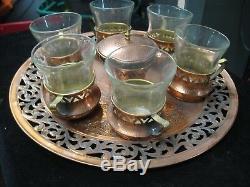 Vintage Handmade Oppenheim Israel Coffee Set with Sugar Bowl & Glass Inserts