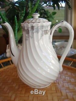 Vintage Haviland Limoges Valmont Tea / Coffee Set, Pot & 8 Cups, Silver Trim