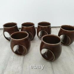 Vintage Holkham Pottery Coffee Set Owl Eyes Brown 6 Mugs 1 Jugs Sugar Pot Tea