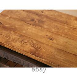Vintage Industrial Rustic 2 Drawer Coffee Table Shoe Rack, set with Potato Trays