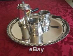 Vintage Italian solid silver. 800 three piece coffee set and salver, 1950s