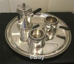 Vintage Italian solid silver. 800 three piece coffee set and salver, 1950s