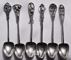 Vintage James A. Linton Sterling Silver Wildflowers Coffee Spoon Set Of Six
