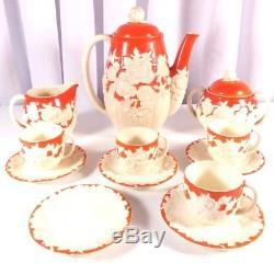 Vintage Japan Moriyama Mori-Machi Orange and Flower Coffee Set 1 Missing Cup