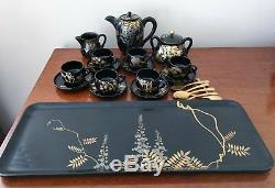 Vintage Japanese Zohiko Kyoto Style Lacquerware Coffee Set & Tray