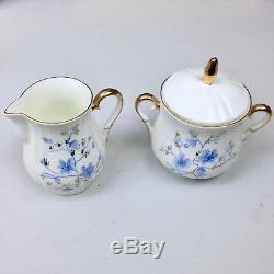 Vintage Jiesia Lithuanian Bone Porcelain Tea Coffee Set Blue Rogers Bros Spoons