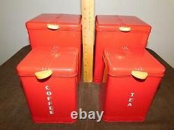 Vintage Kitchen Kreamer Red Flour Sugar Coffee Tea Metal Canister Set