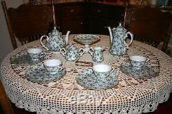 Vintage Lefton China Violet Chintz Tea Pot & Coffee/Chocolate Pot Set 16 pc 50's