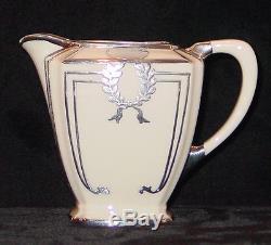 Vintage Lenox Belleek Silver Overlay 3 Pc Coffee Pot Cream Sugar Set Monogram T