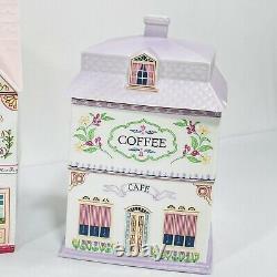 Vintage Lenox Village Canister Set 4 Jars with Lids Tea Coffee Sugar & Flour
