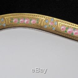 Vintage Limoges France Espresso Coffee Set Gold Painted Edge Pink Roses 7 Pieces