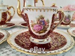 Vintage Limoges Porcelain Coffee set, Fragonard Decor, Real Gold Gilding, France