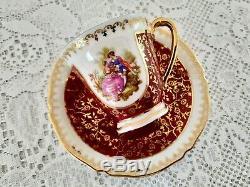 Vintage Limoges Porcelain Coffee set, bone china, Fragonard Decor, France