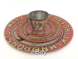 Vintage Litho Tea Set 25 Pc ABC Kitten Coffee 6 Place Settings Tin Ohio Art 1920