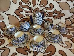 Vintage Lomonosov Imperial Porcelain cobalt net blue Coffee Set 22-k gold USSR