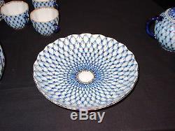 Vintage Lomonosov USSR Cobalt Blue Net 22 Piece Porcelain Coffee Tea Set