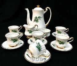 Vintage Lubern Bone China Coffee / Tea Set / Lily Of The Valley 22k Gold Antique