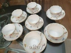 Vintage MEISSEN Handpainted Scattered Flowers Teacup Coffee Cup & Saucers 7 Sets