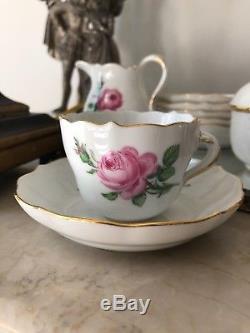 Vintage Meissen Handpainted Pink Rose Demitasse Coffee Set 15 pcs FIRST QUALITY