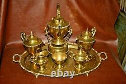 Vintage Mexican Brass 7-pc Coffee & Tea Set with Kettle, Pots, Cream & Sugar, Tray